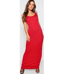 petite zanderige maxi jurk met lage ronde hals, red