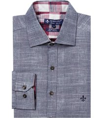 camisa dudalina manga longa fio tinto liso e xadrez masculina (azul marinho, 6)