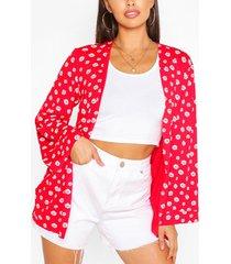 daisy print kimono, red