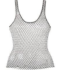 issey miyake pre-owned beaded string vest - black