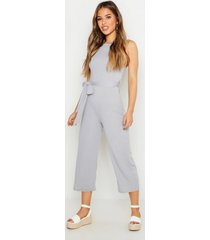petite high neck belted rib culotte jumpsuit, silver
