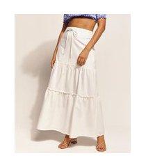 saia feminina emi beachwear longa com recortes off white