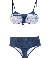 amir slama lace applique denim bikini set - blue
