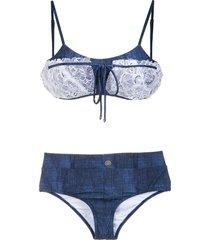 amir slama lace applique denim bikini set - blue