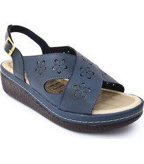 sandalia casual tipo confort para dama color azul 6922226azul