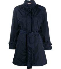 twin-set casaco impermiável com amarração - azul