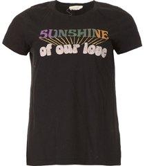 t-shirt met opdruk sunshine  zwart