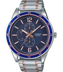 reloj analógico hombre casio mtp-e319rg2b cronógrafo - plateado con azul