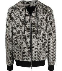 balmain zipped double jersey monogram hoodie
