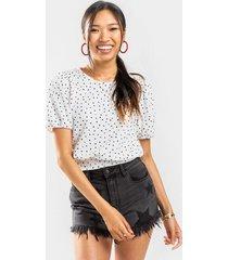 astor puff sleeve polka dot blouse - white