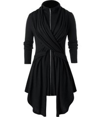plus size asymmetrical solid high collar coat