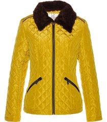 giacca trapuntata con collo in ecopelliccia (giallo) - bpc selection