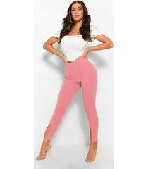 stretch crepe split hem seamed trouser, dusky pink