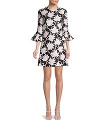 floral-print wool & silk-blend dress