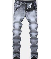elastico casual casual sottile lavato jeans per uomo