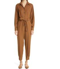 women's max mara dakar belted virgin wool twill jumpsuit, size 2 - beige