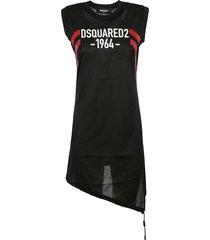 dsquared2 asymmetric logo print dress