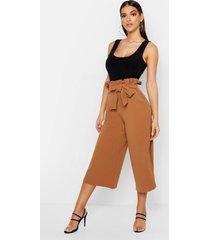 crepe paperbag tie waist culottes, camel