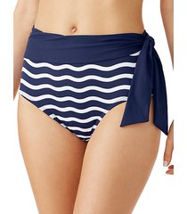 sea swell stripes high-waisted bikini bottoms
