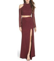 women's la femme long sleeve embellished two-piece gown, size 2 - red