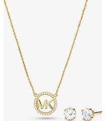 mk set orecchini a bottone e collana in argento sterling placcato ororosa14k con ciondolo logo e pavé - oro (oro) - michael kors