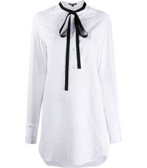 ann demeulemeester long shirt with contrast ribbon bow detail - white