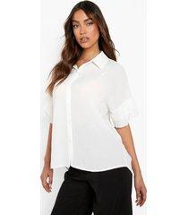 blouse met geplooide mouwen, white