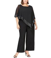 sl fashions plus size asymmetrical-overlay jumpsuit