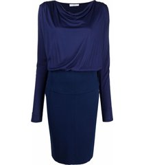 versace pre-owned 2010s cowl-neck dress - blue