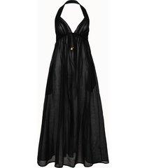 stella mc cartney beachwear abito lungo in misto seta