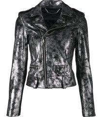 philipp plein statement biker jacket - silver