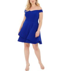 b darlin trendy plus size off-the-shoulder a-line dress