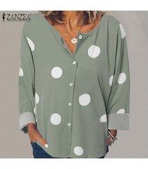 zanzea mujer polka dot manga larga cuello redondo botones tops camisa blusa tallas grandes -verde claro