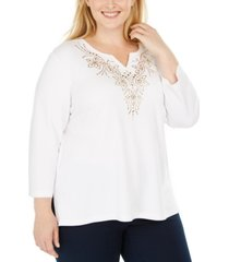 alfred dunner plus size bright idea embellished 3/4-sleeve top