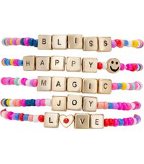 rachel rachel roy gold-tone 5-pc. set happy magic beaded stretch bracelets