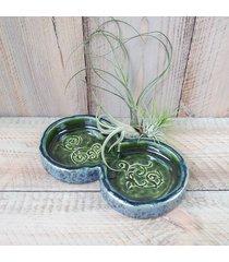 świecznik ceramiczny na dwie świece zielony