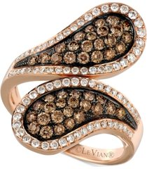le vian chocolatier diamond cluster bypass statement ring (1-1/6 ct. t.w.) in 14k rose gold