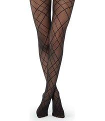 calzedonia - diamond-patterned sheer tights in matt, s/m, black, women