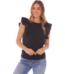 blusa negra con bolero en frente para mujer x49318