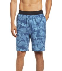zella men's core stretch woven shorts, size x-large in blue macaw say my name camo at nordstrom