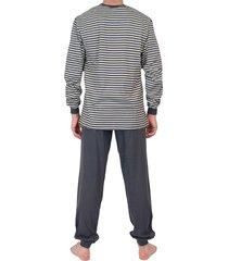 schiesser pyjama grijs streep met boord