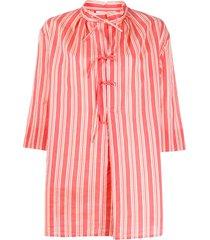 aspesi flared striped blouse - pink