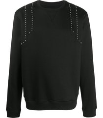 les hommes studded shoulder sweatshirt - black