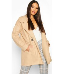 oversized collared wool look coat, camel
