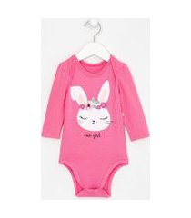 body infantil estampa coelha puff com glitter - tam 0 a 18 meses   teddy boom (0 a 18 meses)   rosa   9-12m