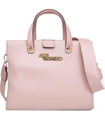 bolsa alice monteiro grandes alça gorgurão bordada - rosa bebê