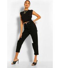 gescheurde mom jeans met hoge taille, zwart