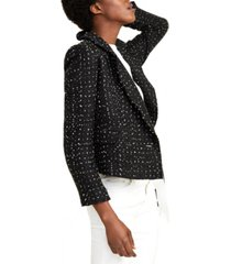 tahari asl metallic-thread tweed fringe-trim blazer