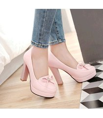 pp421 sweet bowtie pumps, square heels, pu leather , size 4-10, pink