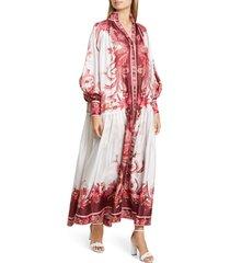 women's zimmermann floral silk long balloon sleeve maxi dress